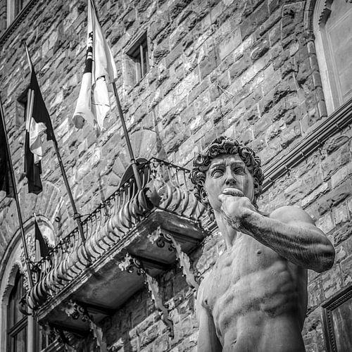 Italië in vierkant zwart wit, David