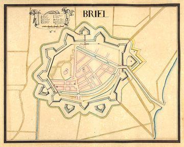 Oude kaart van de vesting Den Briel van omstreeks 1710 van Gert Hilbink