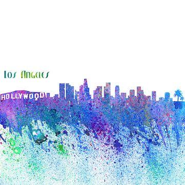 Los Angeles California Skyline Silhouette Impressionistisch van Markus Bleichner