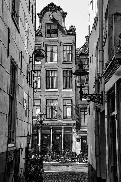 Tekening De Wallen Amsterdam Nederland  Pentekening Lijntekening Zwart-Wit van Hendrik-Jan Kornelis