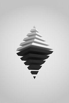 Zwart-witte piramides met dieptevervaging van Jörg Hausmann