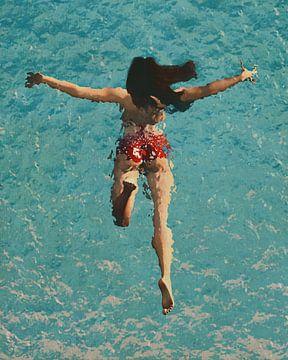 Peinture d'une fille nageant dans la mer sur Jan Keteleer