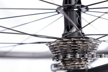 """Details van de wielrennersfiets """"tandwiel"""" van Diane Bonnes"""