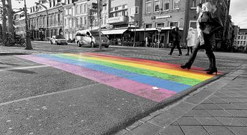 Regenboog zebrapad 'LGBT' gay pride vlag, Maastricht, Netherlands van Nicole Erens