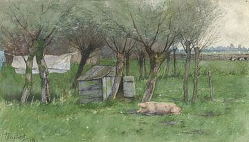 Boerenerf met liggend varken, Nicolaas Bastert