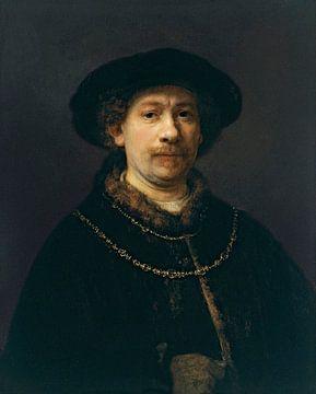 Selbstbildnis mit einem Hut und zwei Ketten, Rembrandt van Rijn