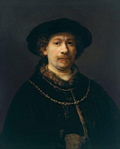 Zelfportret met hoed en twee kettingen, Rembrandt van Rijn van Rembrandt van Rijn