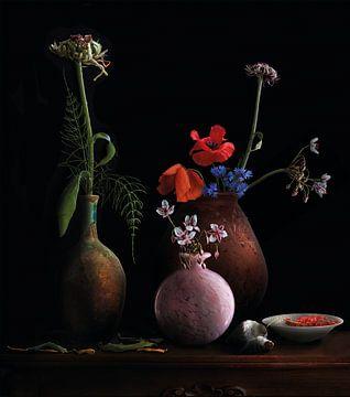 Stilleven met bloemen van Marijke van Loon