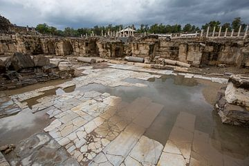 Romeinse ruines in Bet She An in Israel, badhuis van Joost Adriaanse