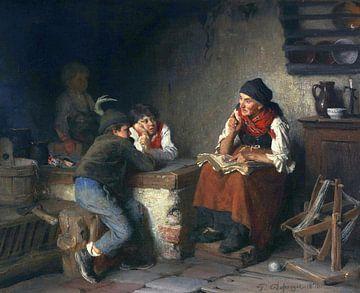 Die Märchenerzählerin, FRANZ VON DEFREGGER, 1870 von Atelier Liesjes