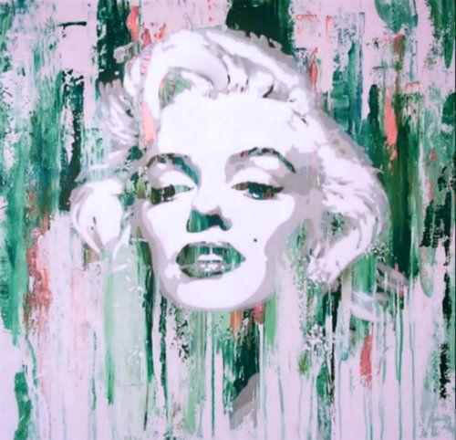 Marilyn Monroe Abstrakt Green Pop Art van Felix von Altersheim