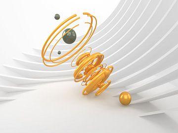 Gelbe Spirale mit grünen Murmeln von shoott photography