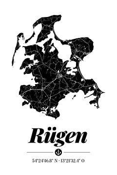 Rügen | Landkarten-Design | Insel Silhouette | Schwarz-Weiß von ViaMapia
