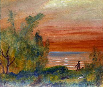 Louis Eilshemius, Sonnenuntergang mit einem Mann an Land - 1920 von Atelier Liesjes