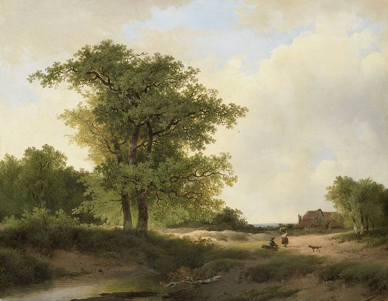 Landscape with Farmstead, Johannes Warnardus Bilders von Meesterlijcke Meesters