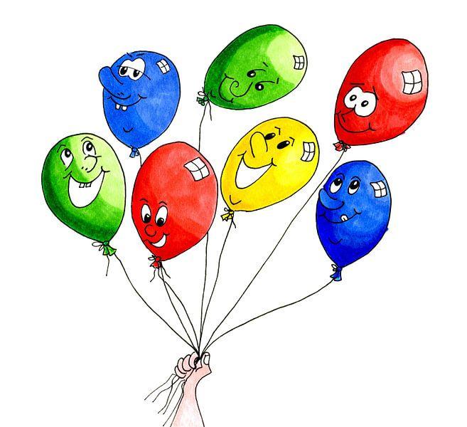 Aquarell-Illustration mit fröhlich bunten Luftballons von Ivonne Wierink