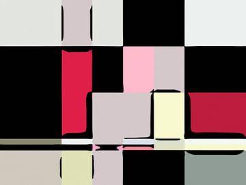 Mondriaan stijl vlakken zwart wit roze van Ready Or Not