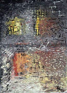 rasterlijnen op bruingele vierkanten, III van elha-Art