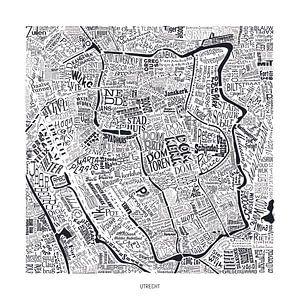 Utrecht als plattegrond met straatnamen van Vol van Kleur