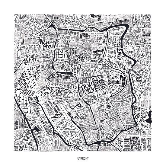 Karte von Utrecht als map mit Straßennamen