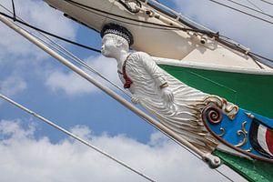 Boegbeeld van het zeilschip Rickmer Rickmers, Hamburg, Duitsland, Europa