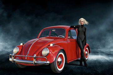 Lady with Ladybird Car - Beetle red van ellenilli .