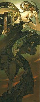 De Maan en de Sterren: De Avondster - Art Nouveau Schilderij Mucha Jugendstil sur