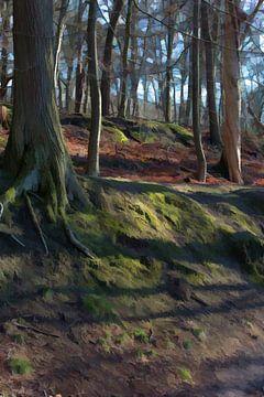 Oude en jongen bomen in Park Zypendaal van Robert Wiggers