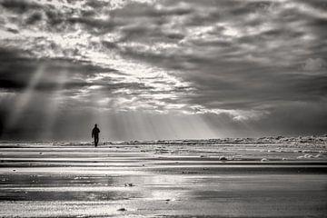 Zeegezicht met een wandelaar langs de kustlijn  von eric van der eijk