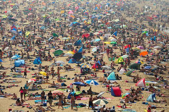 Mensenzee op strand van Scheveningen van Merijn van der Vliet