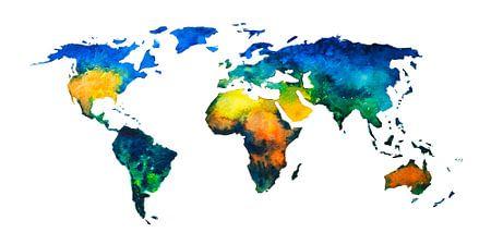 Karte Welt in Aquarell