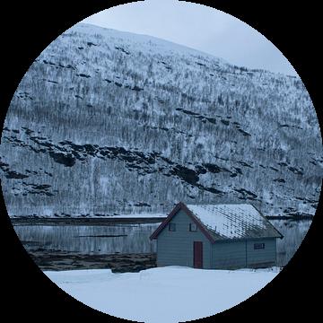 Houten hut bij fjord in Hansness Noord Noorwegen van Dennis Wierenga