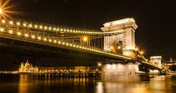 Kettingbrug over de Donau in Boedapest van Sven Wildschut