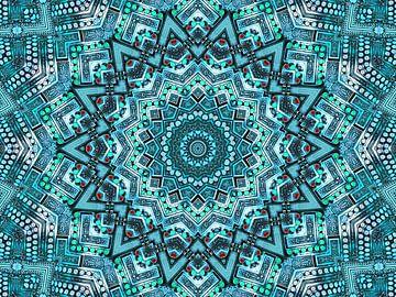 Sterne in Petrol (Mandala in Petrol) von Caroline Lichthart
