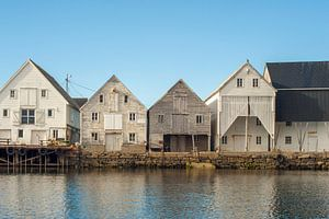 Gebouwen haven Runde Noorwegen. van