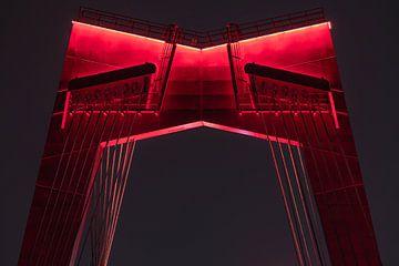 De Willemsbrug in Rotterdam in de nacht in detail van MS Fotografie | Marc van der Stelt