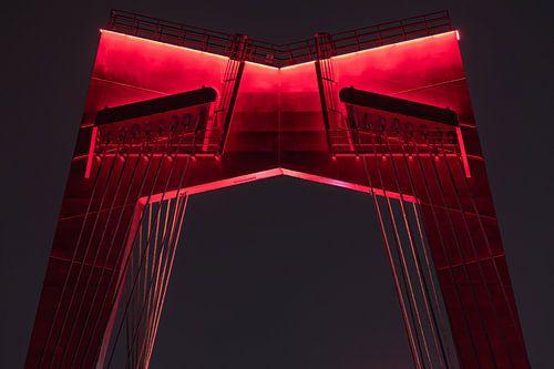 De Willemsbrug in Rotterdam in de nacht in detail