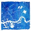 Rotterdam Stadskaart | Blauw Vierkant met een Witte kader van Wereldkaarten.Shop thumbnail