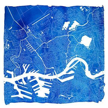 Rotterdam Stadskaart | Blauw Vierkant met een Witte kader