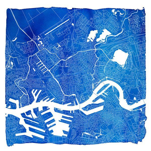 Rotterdam Stadskaart | Blauw Vierkant met een Witte kader van Wereldkaarten.Shop