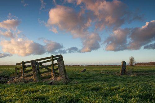 Zonsondergang in polderlandschap van