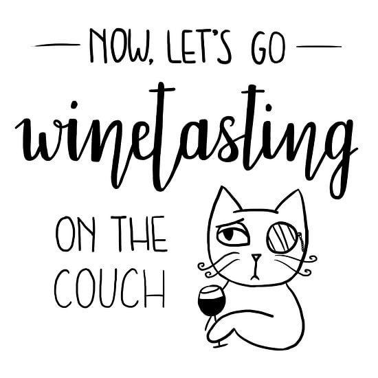 Quote: Wijn drinken op de bank. Met kat: like a sir. van Anora Creations