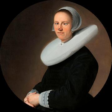 Stil zitten! Portret van Adriana Croes, Johannes  Cornelisz. Geschilderd door Verspronck met vlieg o van Maarten Knops