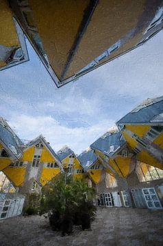 Würfelhäuser in Rotterdam von Digitale Schilderijen