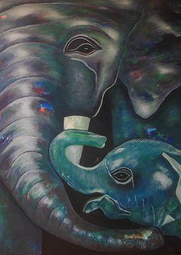 Elefanten Abstrakte Kunst von Ruurd van der Meulen