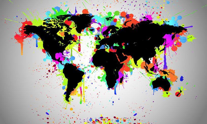 World Map Black Splash van World Maps
