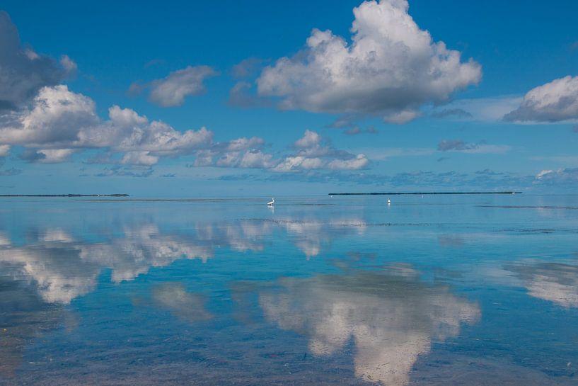 Wolken spiegeling in water van Michèle Huge