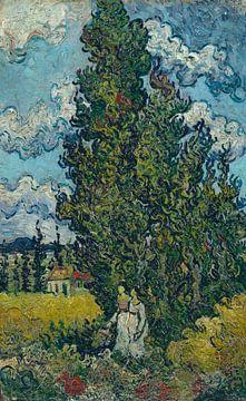 Zypressen und zwei Frauen, Vincent van Gogh