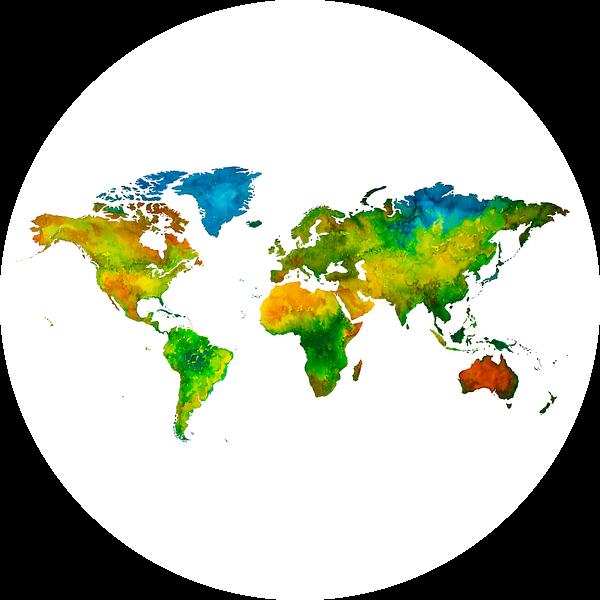 Wereldkaart in Aquarel   Wandcirkel van Wereldkaarten.Shop