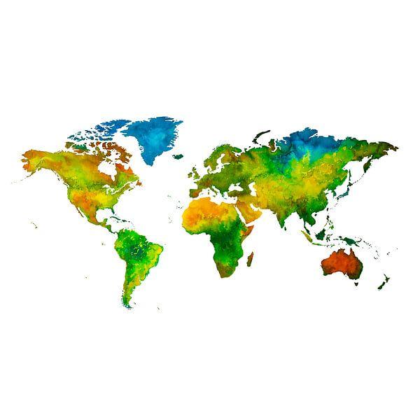 Wereldkaart in Aquarel | Wandcirkel van Wereldkaarten.Shop